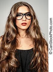 smart optics - Optics style. Beautiful sexy girl with long...