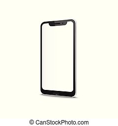 Smart or cell phone with blank screen vector mockup isolated on white background.