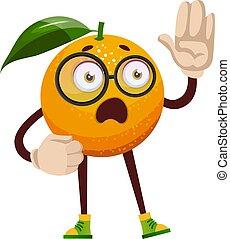 Smart orange, illustration, vector on white background.