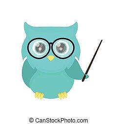 Smart owl teacher with a pointer. Vector