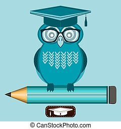 Smart owl wearing glasses and a graduate cap, is sitting on the pencil. Knowledge, education, character high school