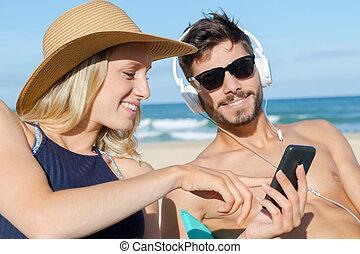 smart, par, ung, ringa, folk, användande