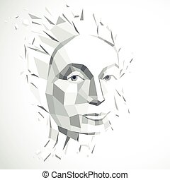 Smart person concept, human head exploding and breaks into multiple fractures. Human mind metaphor. Dimensional vector illustration of thoughtful woman face created in low poly modernized style.