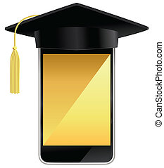 A smart phone wearing a graduation hat.