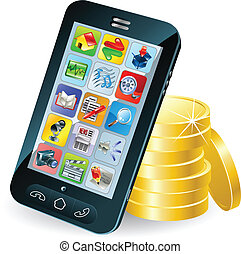 Smart phone and coins illustration - Modern mobile smart...