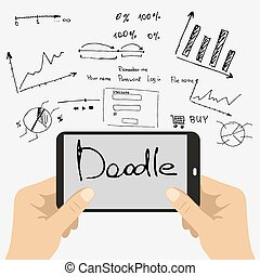 smart phone and doodle hand-drawn graphics