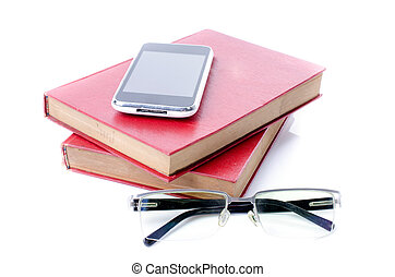Smart phone and eye glasses with red book