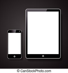 smart phone and tablet with blank screen