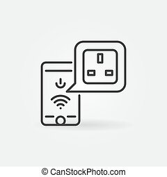 Smart phone and UK Smart socket app vector outline icon