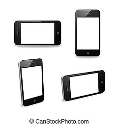 Smart phone displays at various angles. Can be used for custom imagery.