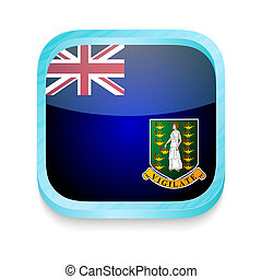 Smart phone button with British Virgin Islands flag