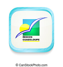 Smart phone button with Region Guadeloupe flag