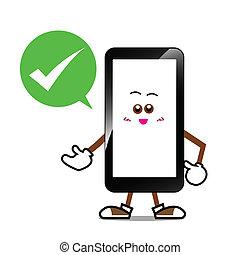 Smart phone cartoon smile screen