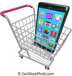 Smart Phone Cellphone Apps Shopping Cart Buying New Telephone