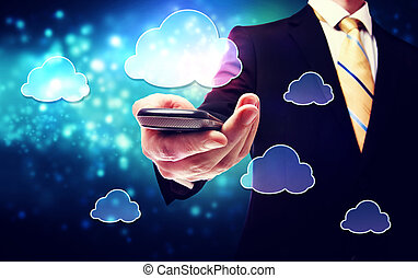 Smart phone cloud connectivity service them with business man