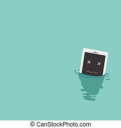 Smart phone drop into the water