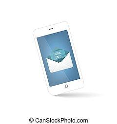 smart phone, envelope for send sms
