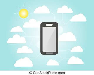 Smart-phone flat icon design . modern business info graphics element with cloud abstract background
