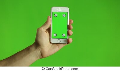 Smart Phone Green Background Over Green Screen