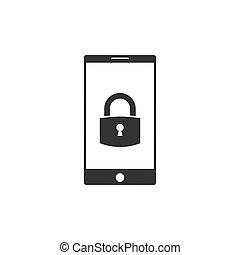 Smart Phone icon, lock icon. Vector illustration, flat ...