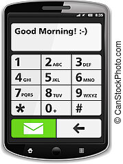 Smart Phone - Modern smart phone with SMS on the screen,...