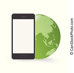Smart phone in front of green globe