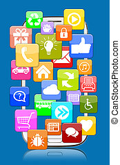 Smart phone mobile with application apps app for internet communication