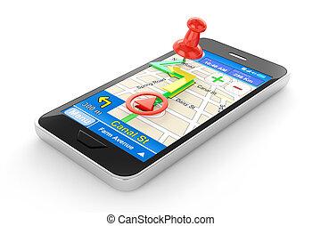 Smart phone navigator illustrartion