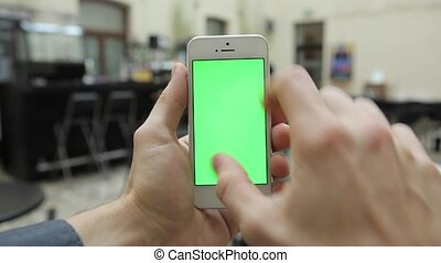 Smart Phone on Cafe w-various Hand Gestures, Vertical, Close Up - Green Screen