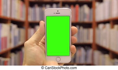 Smart Phone on Library Chroma Key