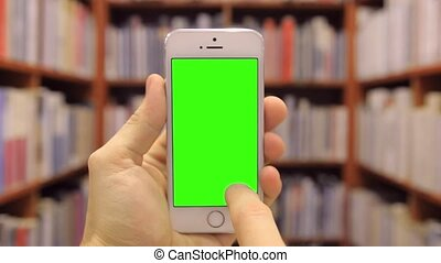 Smart Phone on Library Green Screen Type