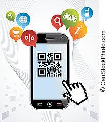 Smart Phone: QR code application vector illustration