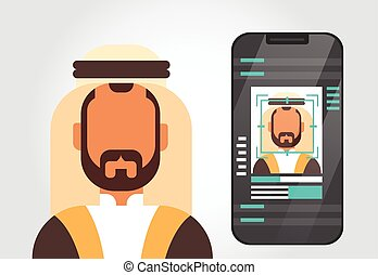 Smart Phone Security System Scanning Muslim Man User Biometric Identification Concept Face Recognition Technology