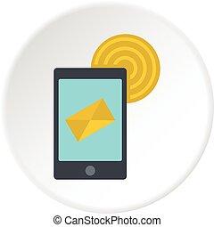 Smart phone sending email icon circle