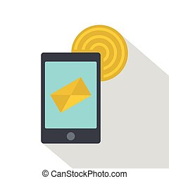 Smart phone sending email icon, flat style