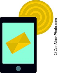 Smart phone sending email icon isolated