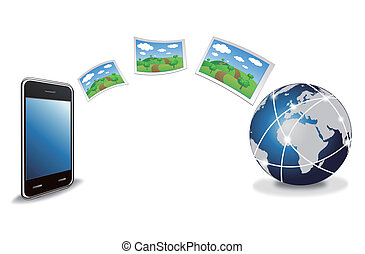 smart phone sending photos