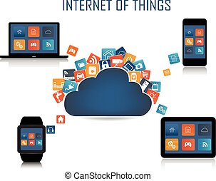 Internet of things concept - Smart phone, Tablet, Laptop,...