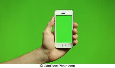 Smart Phone Touchscreen Tap and Swipe Hand Gestures on Green Screen