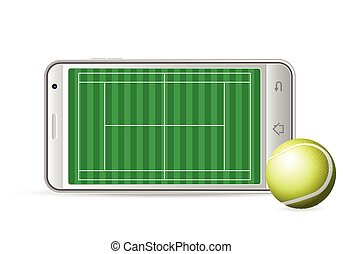 smart phone tennis - Smart phone tennis on a white...