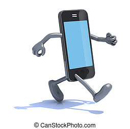 smart phone with arms and legs that runs, 3d illustration