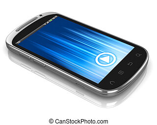 smart phone, touch screen phone isolated on the white...