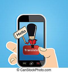 Smart phone translate concept