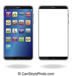 smart phone - illustration of latest smart phone isolated in...