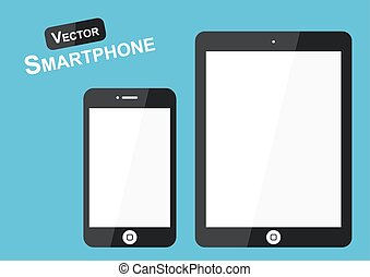 Smart phone vector ( Flat design ) on blue background ( high tech object )