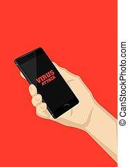 Smart Phone Virus Attack Vector Illustration - Hand holding...