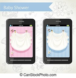 Smart phone with a baby shower cards to choose on doodle background