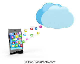 smart phone with app icons and cloud