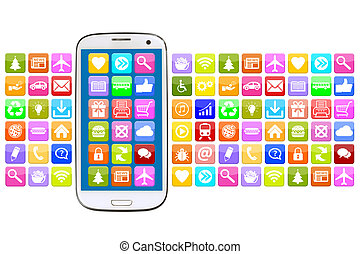 Smart phone with application apps app for internet