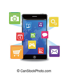 smart phone with applications - EPS 10